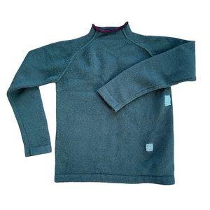 Visible mending submariner collar wool sweater